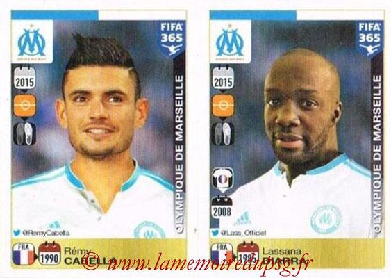 2015-16 - Panini FIFA 365 Stickers - N° 425-426 - Rémy CABELLA + Lassana DIARRA (Olympique de Marseille)