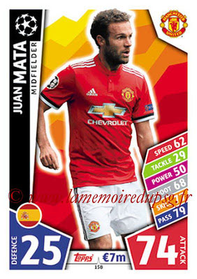2017-18 - Topps UEFA Champions League Match Attax - N° 158 - Juan MATA (Manchester United)