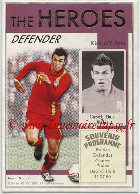 2013 - Futera World Football Unique - N° HER05 - Gareth BALE (Pays de Galles) (Defender) (The Heroes)