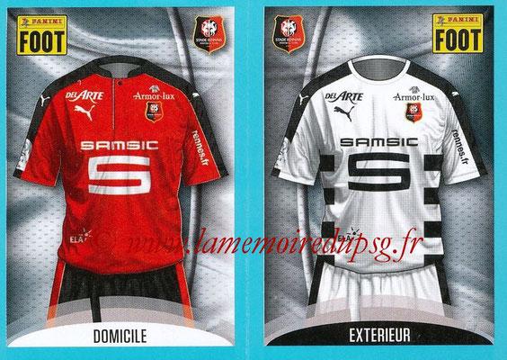 2016-17 - Panini Ligue 1 Stickers - N° 720 + 721 - Maillot Domicile + Extérieur Rennes)
