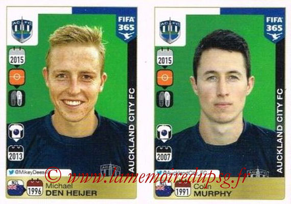 2015-16 - Panini FIFA 365 Stickers - N° 695-696 - Michael DEN HEIJER + Colin MURPHY(Auckland City FC)