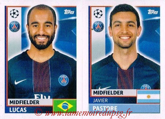 2016-17 - Topps UEFA Champions League Stickers - N° PSG 16-17 - Javier PASTORE + LUCAS (Paris Saint-Germain)