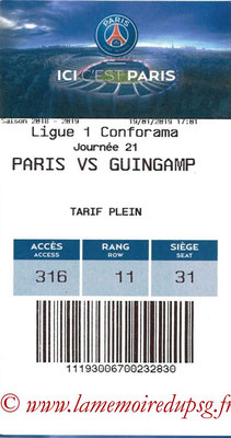 Tickets  PSG-Guingamp  2018-19