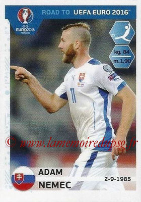 Panini Road to Euro 2016 Stickers - N° 320 - Adam NEMEC (Slovaquie)