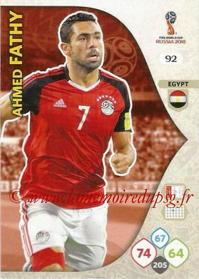 2018 - Panini FIFA World Cup Russia Adrenalyn XL - N° 092 - Ahmed FATHY (Egypte)