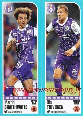 2016-17 - Panini Ligue 1 Stickers - N° 816 + 817 - Martin BRAITHWAITE + Ola TOIVONEN (Toulouse)