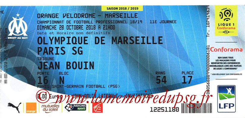 Ticket  Marseille-PSG  2018-19