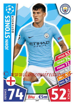 2017-18 - Topps UEFA Champions League Match Attax - N° 169 - John STONES (Manchester City FC)