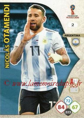 2018 - Panini FIFA World Cup Russia Adrenalyn XL - N° 002- Nicolas OTAMENDI (Argentine)