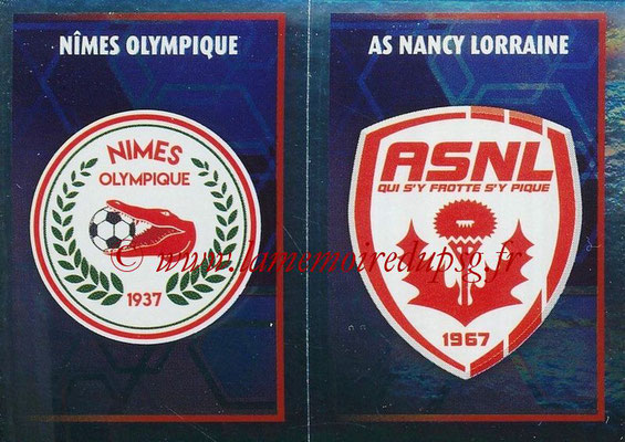 2017-18 - Panini Ligue 1 Stickers - N° 556 - Ecussons AS Nancy Lorraine + Nîmes Olympique