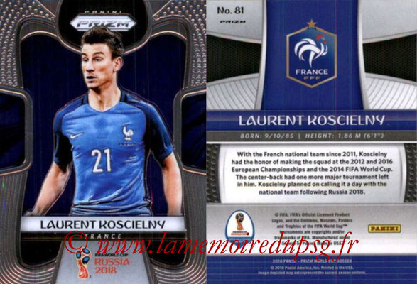 2018 - Panini Prizm FIFA World Cup Russia - N° 081 - Laurent KOSCIELNY (France)