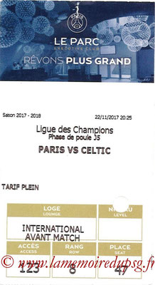 Tickets  PSG-Celtic  2017-18
