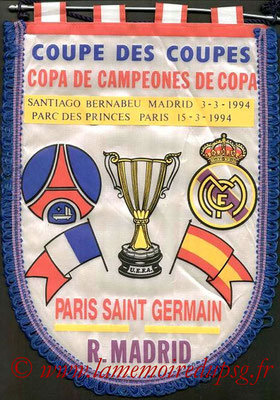 Fanions  PSG-Real Madrid  1993-94
