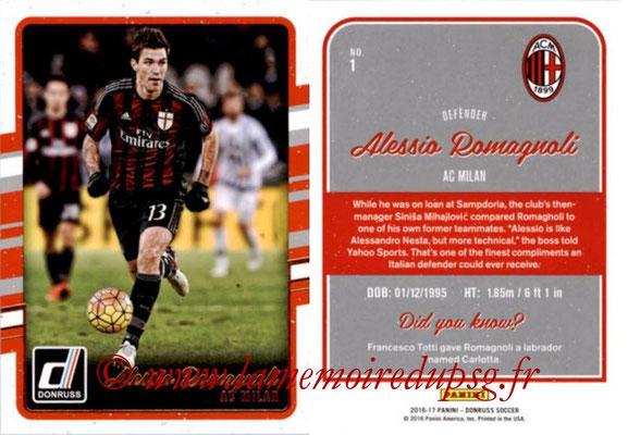 2016 - Panini Donruss Cards - N° 001 - Alessio ROMAGNOLI (Milan AC)