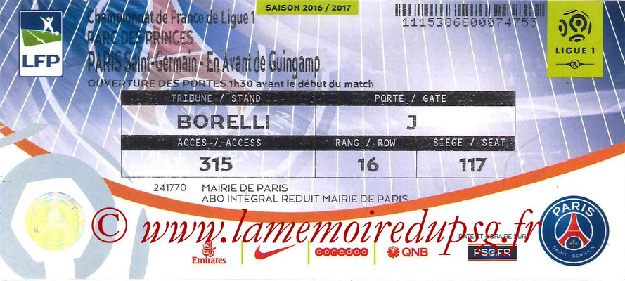 Tickets  PSG-Guingamp  2016-17