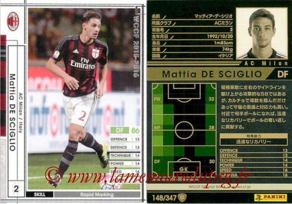 2015-16 - Panini WCCF - N° 148 - Mattia DE SCIGLIO (Milan AC)