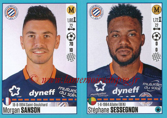 2016-17 - Panini Ligue 1 Stickers - N° 540 + 541 - Morgan SANSON + Stéphane SESSEGNON (Montpellier)