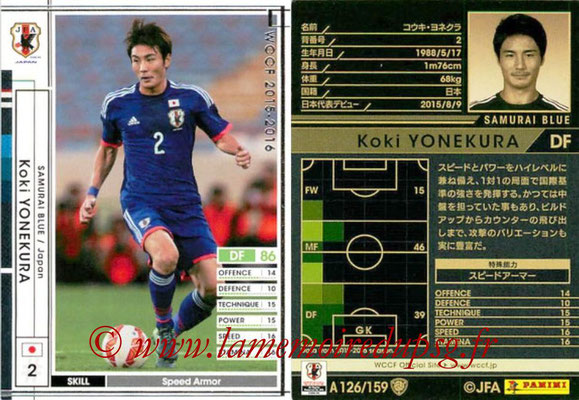 2015-16 - Panini WCCF - N° A126 - Koki YONEKURA (Japon)