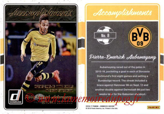 2016 - Panini Donruss Cards - N° A08 - Pierre-Emerick AUBAMEYANG (Borussia Dortmund) (Accomplishments)