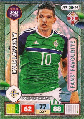 2018 - Panini Road to FIFA World Cup Russia Adrenalyn XL - N° NIR14 - Kyle LAFFERTY (Irlande du Nord) (Fans' Favourite) (UK Version)