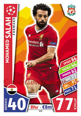 2017-18 - Topps UEFA Champions League Match Attax - N° 193 - Mohamed SALAH (Liverpool FC)