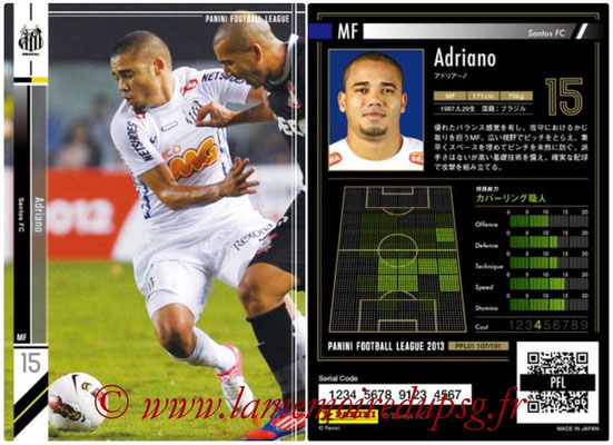 Panini Football League 2013 - PFL01 - N° 107 - Adriano ( Santos FC )