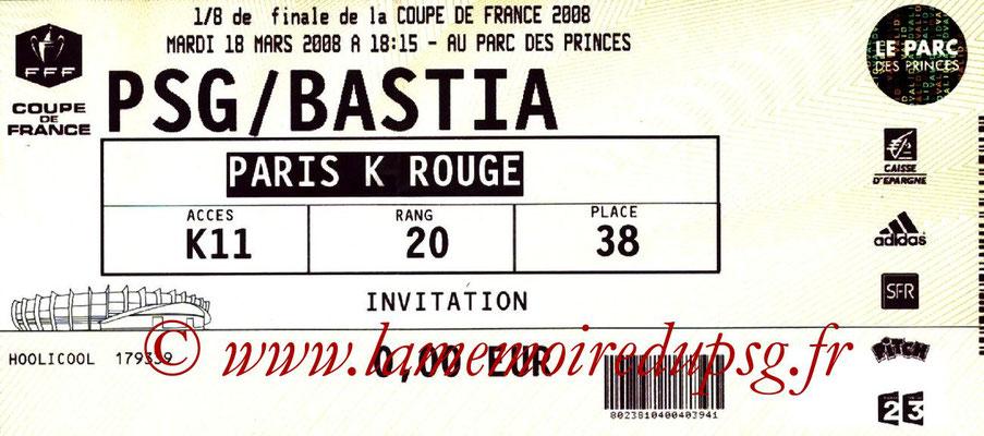 Tickets  PSG-Bastia  2007-08
