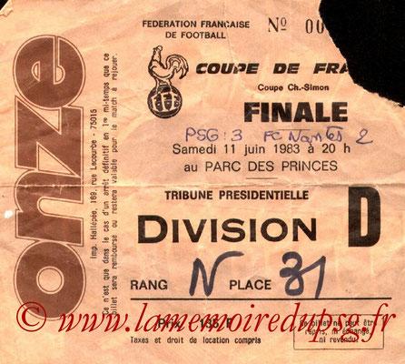 Ticket  PSG-Nantes  1982-83