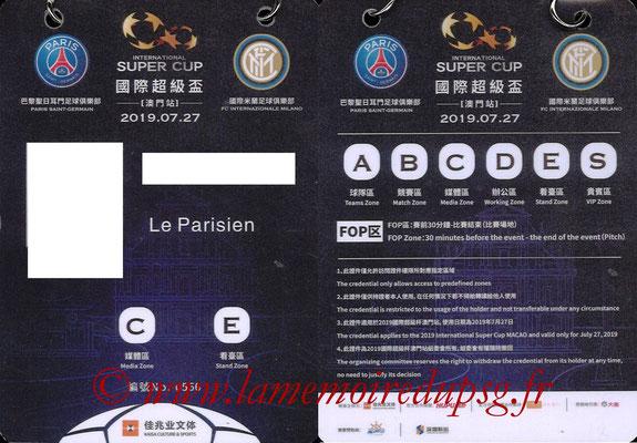 Badge Presse  PSG-Inter Milan  2019-20