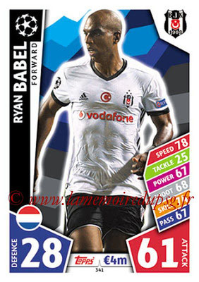 2017-18 - Topps UEFA Champions League Match Attax - N° 341 - Ryan BABEL (Besiktas JK)
