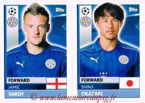 2016-17 - Topps UEFA Champions League Stickers - N° LEI 18-19 - Shinji OKAZAKI + Jaime VARDY (Leicester City FC)