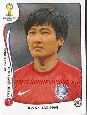 2014 - Panini FIFA World Cup Brazil Stickers - N° 624 - Kwak TAE-HWI (Corée du Sud)