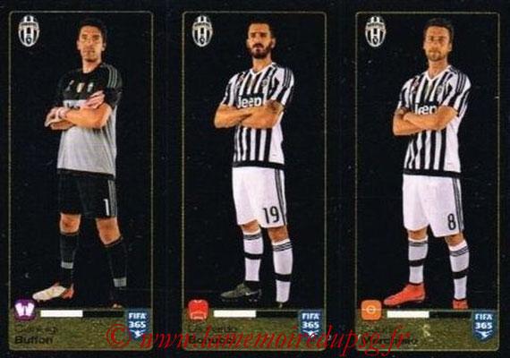 2015-16 - Panini FIFA 365 Stickers - N° 563-564-565 - Gianluigi BUFFON + Leonardo BONUCCI + Claudio MARCHISIO (Juventus FC)
