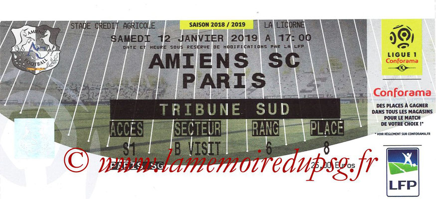 Ticket  Amiens-PSG  2018-19