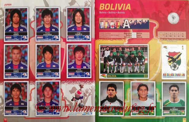 Panini Copa América Argentina 2011 - Pages 12 et 13 - Japon et Bolivie