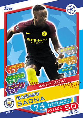 2016-17 - Topps UEFA Champions League Match Attax - N° MC3 - Bacary SAGNA (Manchester City FC) (Away Goal)