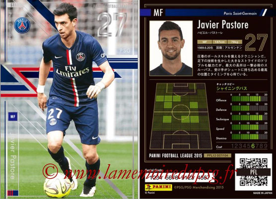 Panini Football League 2015 - PFL12 - N° 057 - Javier PASTORE (Paris Saint-Germain) (Star)
