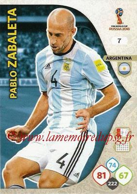 2018 - Panini FIFA World Cup Russia Adrenalyn XL - N° 007 - Pablo ZABALETA (Argentine)