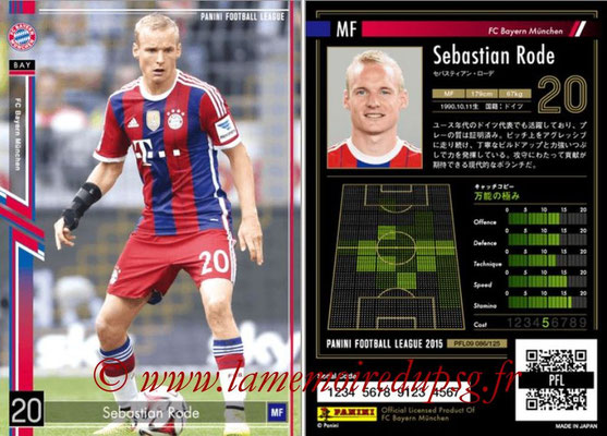 Panini Football League 2015 - PFL09 - N° 086 - Sebastien RODE (Bayern Munich)
