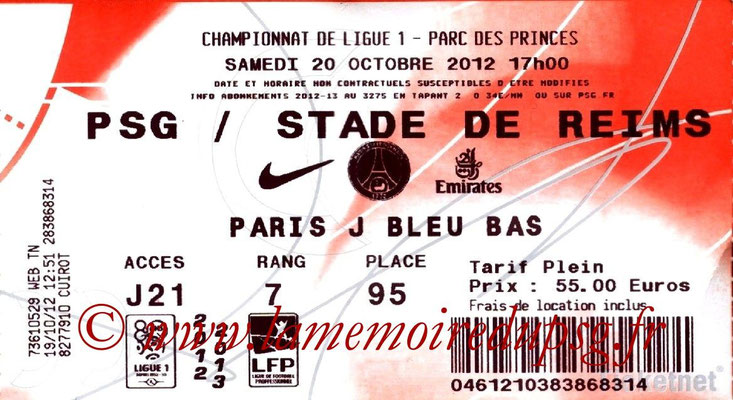 Tickets  PSG-Reims  2012-13
