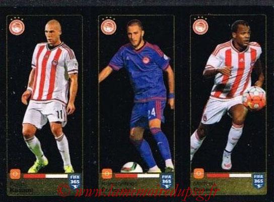 2015-16 - Panini FIFA 365 Stickers - N° 540-541-542 - Pajtim KASAMI + Konstantinos FORTOUNIS + Mathieu DOSSEVI (Olympiacos FC)