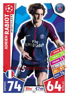 2017-18 - Topps UEFA Champions League Match Attax - N° 261 - Adrien RABIOT (Paris Saint-Germain)