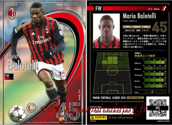 Panini Football League 2014 - PFL07 - N° 006 - Mario BALOTELLI (Milan AC) (Star +)