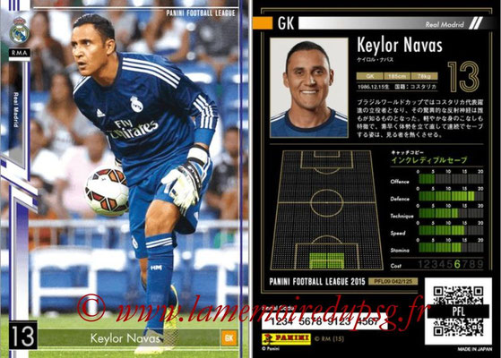 Panini Football League 2015 - PFL09 - N° 042 - Keylor NAVAS (Real Madrid)