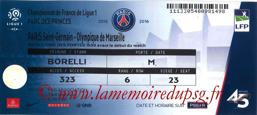 Tickets  PSG-Marseille  2015-16