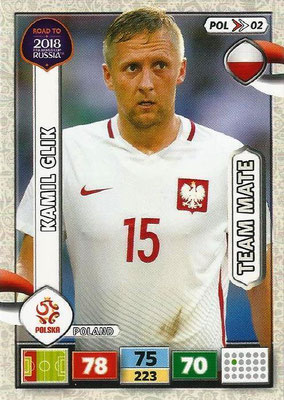 2018 - Panini Road to FIFA World Cup Russia Adrenalyn XL - N° POL02 - Kamil GLIK (Pologne)
