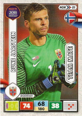 2018 - Panini Road to FIFA World Cup Russia Adrenalyn XL - N° NOR01 - Rune JARSTEIN (Norvège)