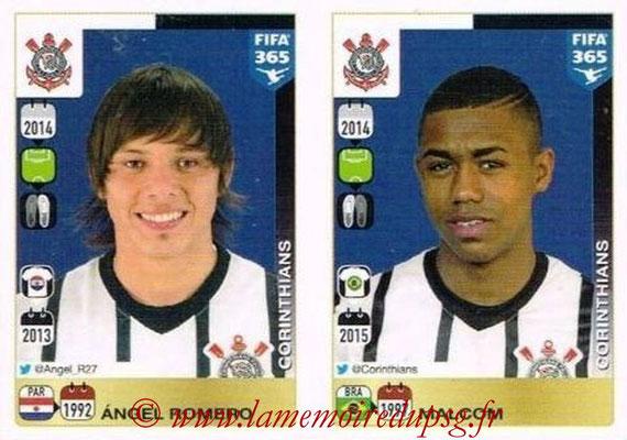 2015-16 - Panini FIFA 365 Stickers - N° 187-188 - Angel ROMERO + MALCOM (SC Corinthians)