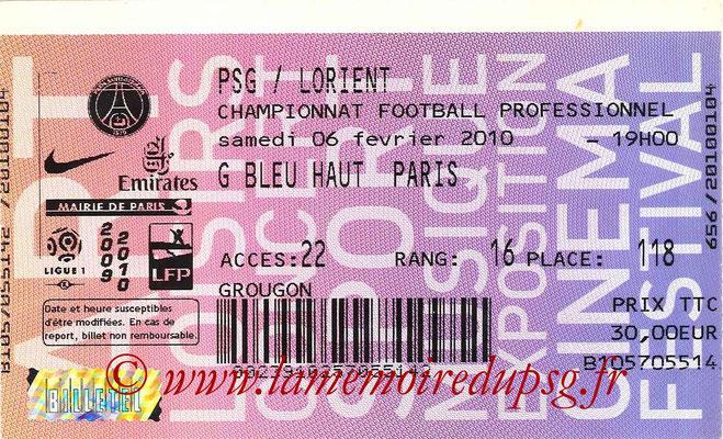 Tickets  PSG-Lorient  2009-10