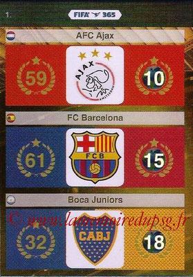 2015-16 - Panini Adrenalyn XL FIFA 365 - N° 001 - Logo et Palmarès AFC Ajax + FC Barcelone + Boca Juniors